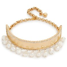 Shourouk Nefer Choker Necklace ($225) ❤ liked on Polyvore featuring jewelry, necklaces, swarovski crystal necklace, choker collar necklace, adjustable necklace, pearl jewelry and pearl collar necklace