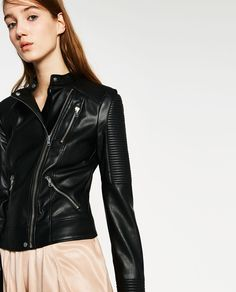 JACKET WITH ZIPS-Faux Leather-LEATHER-WOMAN   ZARA United States