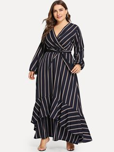 Shop Plus Ruffle Hem Belted Striped Dress online. SheIn offers Plus Ruffle Hem Belted Striped Dress & more to fit your fa… Look Plus Size, Dress Plus Size, Plus Size Outfits, Plus Size Women, Belted Dress, Striped Dress, Dresses For Sale, Dresses Online, Plus Size Kleidung