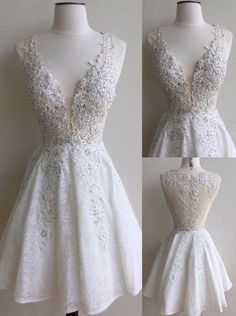 2017 New arrivals princess lace short white prom dress v-neck A-line sleeveless charming prom gown lovely homecoming dress BD592