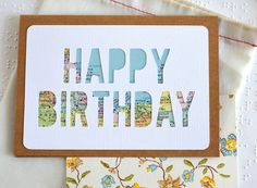 """Crafted with a vintage map, this handmade card sends a special """"Happy Birthday"""" to a traveler or city lover. Each of these artisan cards is individually cut -- not printed -- and crafted with a vintag"""