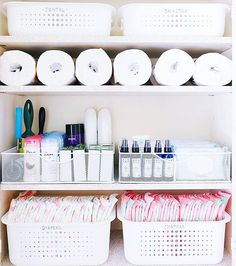 storage holding backstock diapers, bath, and cleaning products. 💕 Bins listed on our favorites page [thehomeedit.com/favorites] and on @liketoknow.it http://liketk.it/2p0Or 💕 #thehomeedit #honestcompany #momlife #organization