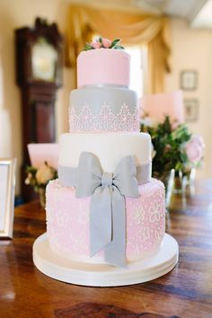 pink and grey wedding cakes two tier wedding cake with flowers wedding cake 18548