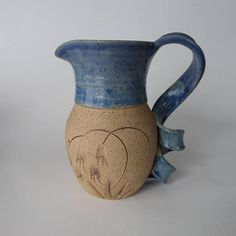Art Pottery Pitcher, Tamiria Martinez 1996 Blue and Natural Speckled Vintage Stoneware