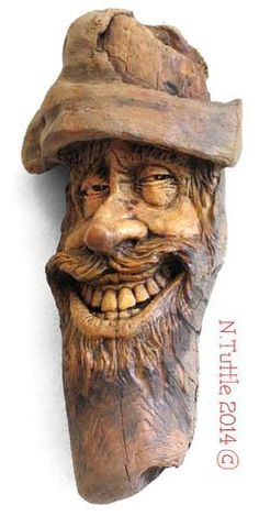 """The Wood Knot That Would Not"" 7 inches tall and inches across the brim . ""The Wood Knot That Would Not"" 7 inches tall and inches across the brim of his hat! Signed and dated: N. Wood Carving Faces, Tree Carving, Wood Carving Patterns, Wood Carving Art, Wood Art, Art Sculpture En Bois, Got Wood, Wood Creations, Tree Art"