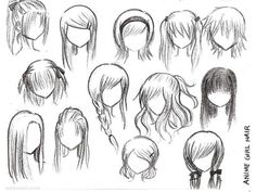 draw anime girl hair
