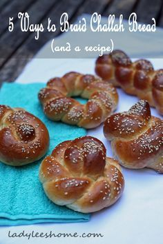 Here are 5 simple ways to braid challah bread and a challah bread recipe. All braids using one or two strands (no crazy six strand braiding). #LadyLeesHome