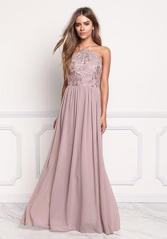 Mauve Floral Embroidered Chiffon Maxi Gown - Midi and Maxi - Dresses