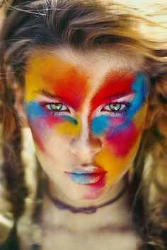 Colorful festival makeup