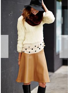 brown leather skirt, polka dot blouse and furry creamy pullover styled by olivia palermo