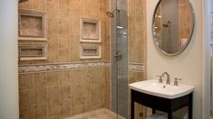shower with ceramic tile - beautiful wall