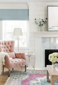 Interior decorating feminine touch to the livingroom The Holly Road House | Bria Hammel Interiors
