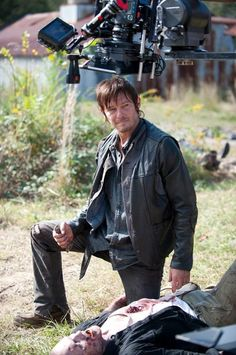 Norman Reedus on set of The Walking Dead