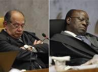 Ministros Gilmar Mendes e Joaquim Barbosa durante julgamento do mensalão no STF Foto: André Coelho / O Globo