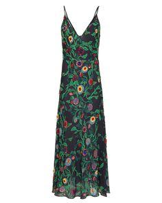 PatBO Hand-Embellished Tropical Midi Dress