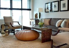 Living Room, Incredible Fancy Ottomans Coffee Table Ideas Decorating : Monica Förster Esedra Pouf Fancy Leather Ottoman With Modern Furnitur. Living Room Pouf, Living Room Modern, Living Room Furniture, Living Room Designs, Living Room Decor, Living Spaces, Ottoman Design, Chair Design, Floor Pillows And Poufs