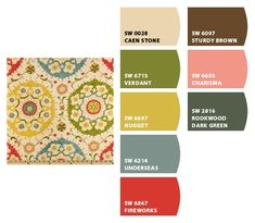 Richloom Cornwall Garden Fabric Paint colors from Chip It! by Sherwin-Williams (Underseas is on the same swatch as Rainwashed. Could I do rainwashed instead?)