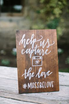 Wedding hashtag - help us capture the love sign
