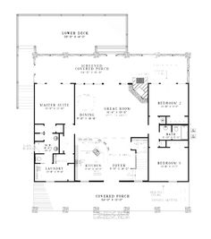 Rustic+Cottage+Floor+plans+with+Porch | Lake House Plan First Floor - 055D-0861 | House Plans and More