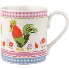 This fun china mug features our Chicken Stripe print and is the perfect size for a cup of tea.