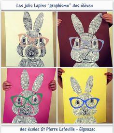 Voilà de jolis lapins à faire à la maison avec les enfants ou en classe dans le cadre d'un atelier dessins et collages créatifs.. source photos et dessins du : blog pedagogie.ac-toulouse.fr