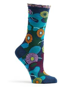 Another great find on #zulily! Navy Flower Camo Crew Socks #zulilyfinds