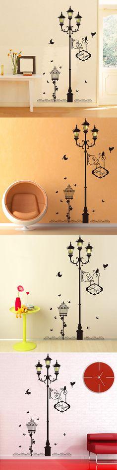 DLX0229 Street Lamp Birdie Type Removable Wall Sticker