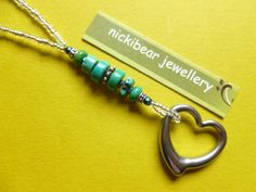 Heart & Gemstone bead necklace.  Stainless Steel Heart pendant, with Turquoise beads, by NickibearJewellery #nickibear