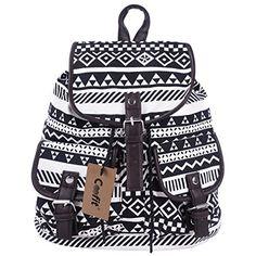 fe1e69799d Coofit Vintage Womens Backpacks Retro Tribe Canvas School Bag Backpack For Girls  Teens Female Travel Bagpack Drawstring Rucksack