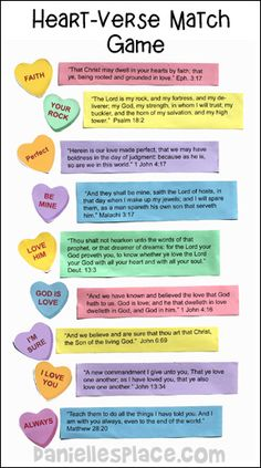 Valentine's Day Bible Game - Match the Candy Hearts to the Verse Game from www.daniellesplace.com