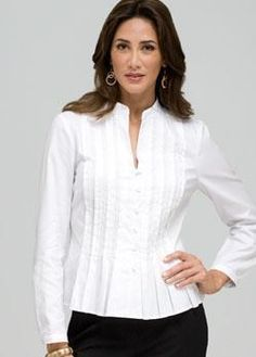Bergdorf Goodman - World-renowned fashion, plus exclusive beauty brands Blouse Patterns, Blouse Designs, Sewing Shirts, Blouse Dress, White Shirts, Womens Fashion For Work, Blouse Styles, Fitness Fashion, Shirt Blouses