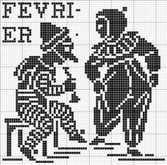 Month 02 | Free chart for cross-stitch, filet crochet | Chart for pattern - Gráfico