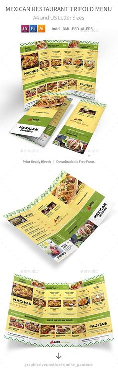 Buy Mexican Restaurant Trifold Menu 2 by Mike_pantone on GraphicRiver. Mexican Menu Print Bundle 2 is also available.Mexican Restaurant Trifold Menu 2 Clean and modern t. Food Menu Template, Restaurant Menu Template, Restaurant Menu Design, Logo Restaurant, Menu Templates, Take Out Menu, Mexican Menu, Burger Places, Menu Printing