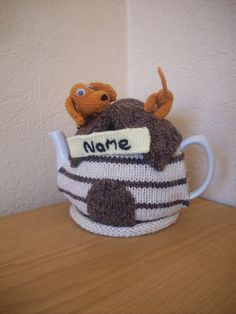 Knitted Tea cosy cosie Dachshund Kennel Personalised with Name, Shabby Chic...rosiecosie