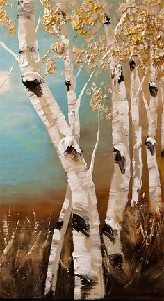 Birch Acrylic Painting 48 Modern Acrylic Painting by OsnatFineArt