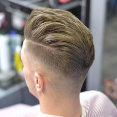 Layered mid fade, hard part, modern pompadour