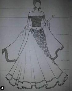 Dress Design Drawing, Dress Design Sketches, Fashion Design Sketchbook, Dress Drawing, Fashion Design Drawings, Wedding Dress Sketches, Fashion Drawing Tutorial, Fashion Figure Drawing, Fashion Drawing Dresses