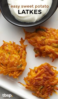 Easy sweet potato latkes are a nice twist on the traditional dish.