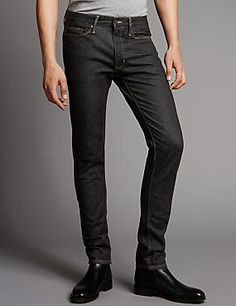 Skinny Fit Stretch Jeans #jean #jeans #men #man #fashion #style #marksandspencer #erkek #kot #pantolon