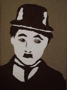 Arte Efêmera. Representação do artista Charles Chaplin com os materiais: Pó de café, areia e farinha de mandioca, inspiração nas obras de Vick Muniz!
