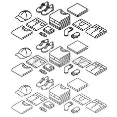 Isometric outline icons, vector set, clothes. Thin line icons. — Stock Vector © Finalpanda #104214864