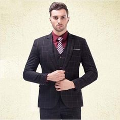 Men's 3 Piece Blue Plaid Slim Fit Groom Formal Dress Business Suit