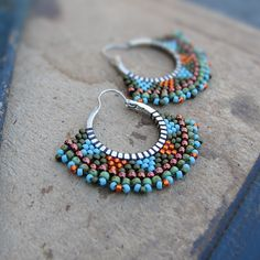 Beaded Hoops in Orange, Aqua, Copper and Green