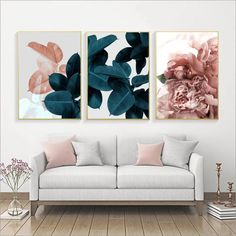 Online Shop Wall Pictures For Living Room Leaf Cuadros Picture Nordic Poster Floral Wall Art Canvas Painting Botanical Posters And Prints Leaf Wall Art, Floral Wall Art, Green Wall Art, Pink Wall Art, 3 Piece Wall Art, Leaf Art, Wall Art Sets, Home Wall Art, Wall Art Decor