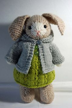 Mabel - Knitted Bunny Rabbit toy in Springtime dress with Hoodie Sweater