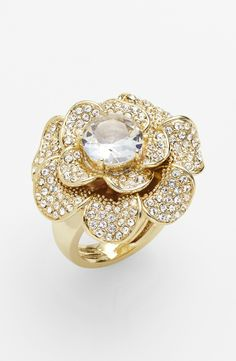 Ariella Collection Pavé Flower Cocktail Ring