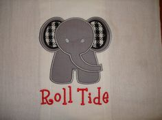 UA Roll Tide Elephant Cloth DiaperBurp Cloth by ThreadTrekker, $10.00