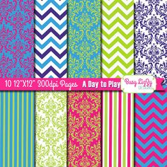 10 Bright Boho Paper Patterns 12X12 300dpi by BusyLizzyDesigns