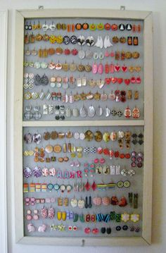 One half of a vintage window screen turned jewelry stand My new