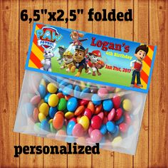 Paw Patrol Bag Topper is printable digital file ready for instant download.  That means you will the receive your file as soon as you complete the payment, and may print as many copies as you need.  The file is a high resolution layout measured in 8.5x11, containing 2 copies of a 6,5x2,5 (when folded) Paw Patrol themed candy bag topper.  Let me know if your looking for a diferent size or specific adjustments, I will be happy to create a new listing for you.  Best wishes, Regina Conte…